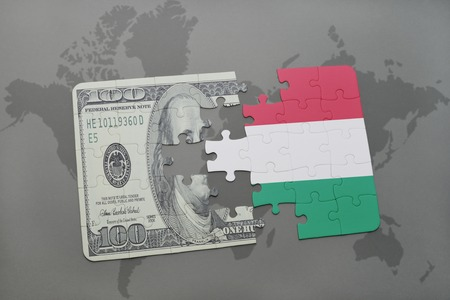 european integration: puzzle with the national flag of hungary and dollar banknote on a world map background. 3D illustration