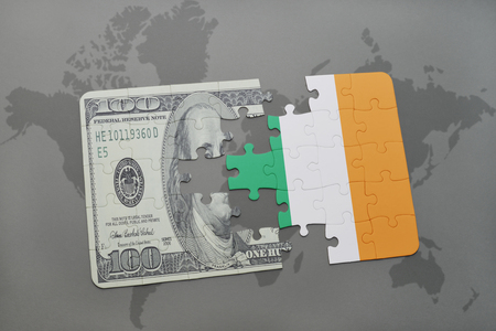 european integration: puzzle with the national flag of ireland and dollar banknote on a world map background. 3D illustration Stock Photo
