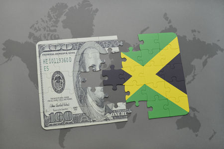 kingston: puzzle with the national flag of jamaica and dollar banknote on a world map background. 3D illustration Stock Photo