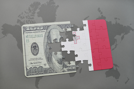 maltese map: puzzle with the national flag of malta and dollar banknote on a world map background. 3D illustration