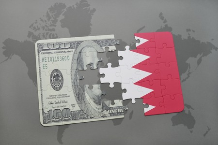 bahrain money: puzzle with the national flag of bahrain and dollar banknote on a world map background. 3D illustration