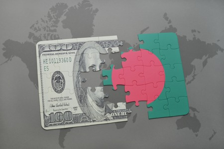 arabic currency: puzzle with the national flag of bangladesh and dollar banknote on a world map background. 3D illustration Stock Photo