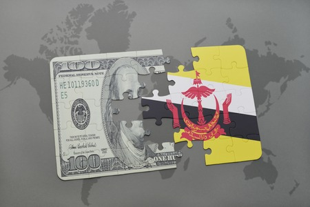 map of brunei: puzzle with the national flag of brunei and dollar banknote on a world map background. 3D illustration Stock Photo