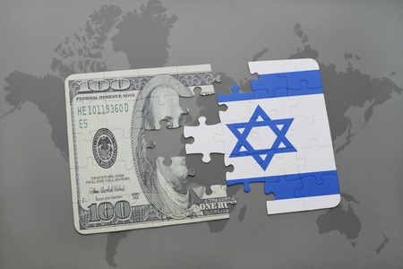 tel: puzzle with the national flag of israel and dollar banknote on a world map background. 3D illustration Stock Photo