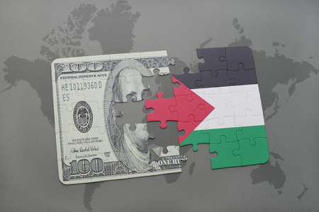 puzzle with the national flag of palestine and dollar banknote on a world map background. 3D illustration
