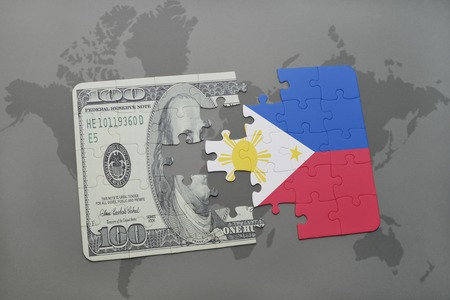 manila: puzzle with the national flag of philippines and dollar banknote on a world map background. 3D illustration