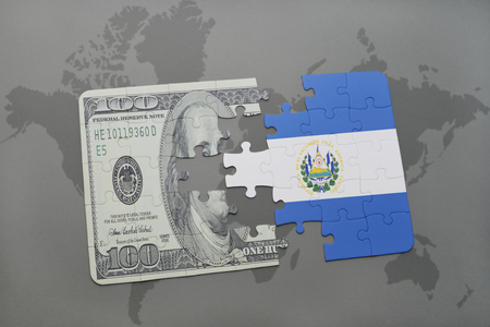 mapa de el salvador: puzzle with the national flag of el salvador and dollar banknote on a world map background. 3D illustration