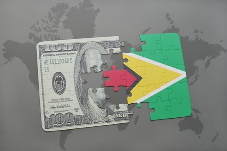 guyanese: puzzle with the national flag of guyana and dollar banknote on a world map background. 3D illustration