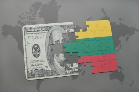 european integration: puzzle with the national flag of lithuania and dollar banknote on a world map background. 3D illustration Stock Photo