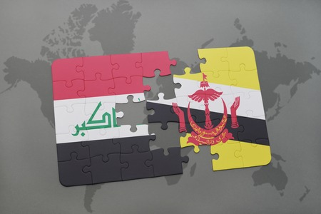 map of brunei: puzzle with the national flag of iraq and brunei on a world map background. 3D illustration