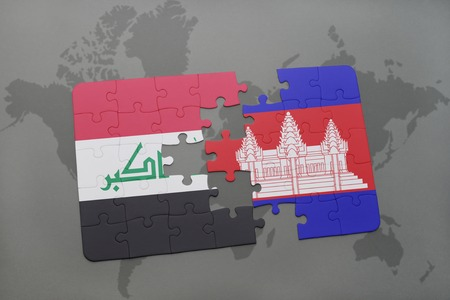 cambodian flag: puzzle with the national flag of iraq and cambodia on a world map background. 3D illustration