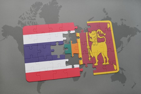 colombo: puzzle with the national flag of thailand and sri lanka on a world map background. 3D illustration