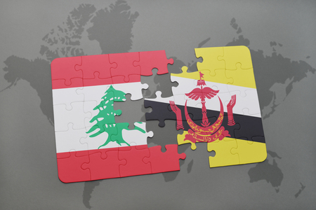 lebanese: puzzle with the national flag of lebanon and brunei on a world map background. 3D illustration