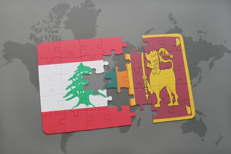 colombo: puzzle with the national flag of lebanon and sri lanka on a world map background. 3D illustration Stock Photo