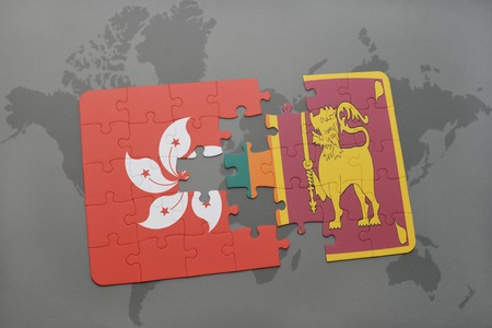 ceylon: puzzle with the national flag of hong kong and sri lanka on a world map background. 3D illustration Stock Photo