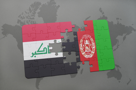 Puzzle with the national flag of iraq and afghanistan on a world illustration puzzle with the national flag of iraq and afghanistan on a world map background 3d illustration gumiabroncs Image collections