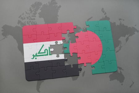 iraq conflict: puzzle with the national flag of iraq and bangladesh on a world map background. 3D illustration