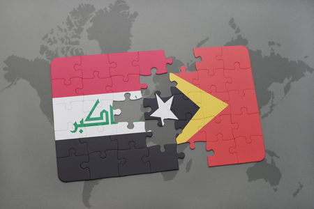 iraq conflict: puzzle with the national flag of iraq and east timor on a world map background. 3D illustration