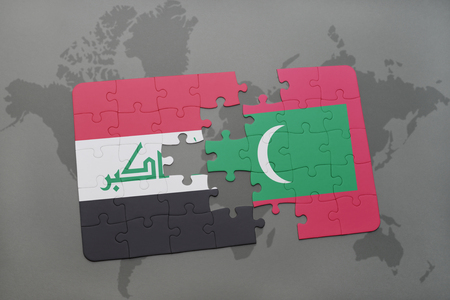 iraq conflict: puzzle with the national flag of iraq and maldives on a world map background. 3D illustration