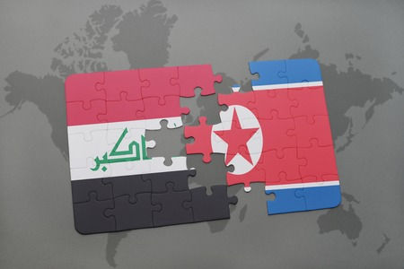iraq conflict: puzzle with the national flag of iraq and north korea on a world map background. 3D illustration