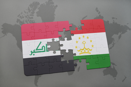 iraq conflict: puzzle with the national flag of iraq and tajikistan on a world map background. 3D illustration Stock Photo