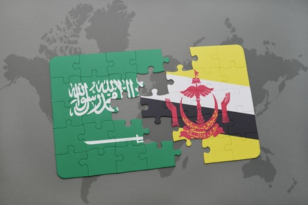 map of brunei: puzzle with the national flag of saudi arabia and brunei on a world map background. 3D illustration