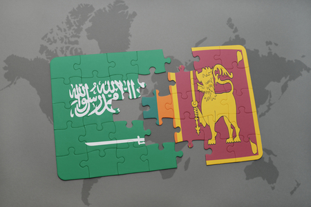 colombo: puzzle with the national flag of saudi arabia and sri lanka on a world map background. 3D illustration