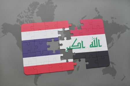 iraq conflict: puzzle with the national flag of thailand and iraq on a world map background. 3D illustration