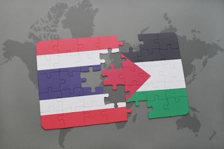 puzzle with the national flag of thailand and palestine on a world map background. 3D illustration Stock Photo