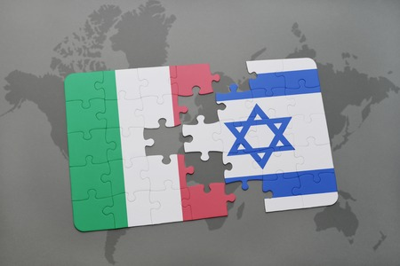 puzzle with the national flag of italy and israel on a world map background. 3D illustration