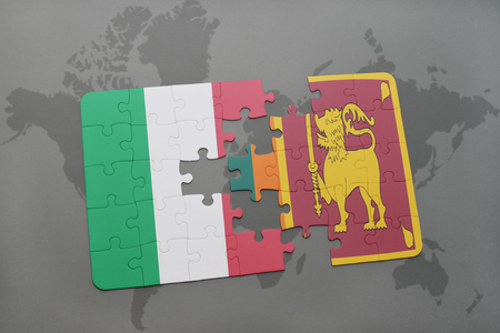 italian politics: puzzle with the national flag of italy and sri lanka on a world map background. 3D illustration Stock Photo