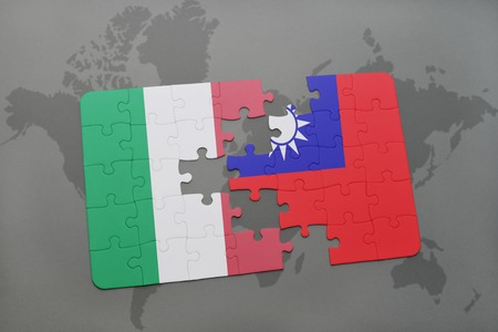 Waving italian and chinese flags of the political map stock photo puzzle with the national flag of italy and taiwan on a world map background 3d gumiabroncs Choice Image