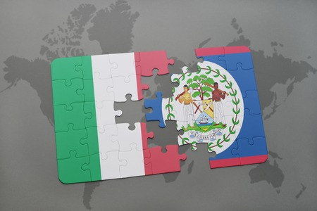 italian politics: puzzle with the national flag of italy and belize on a world map background. 3D illustration