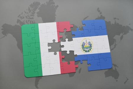 mapa de el salvador: puzzle con la bandera nacional de Italia y El Salvador en un mapa del mundo de fondo. ilustración 3D