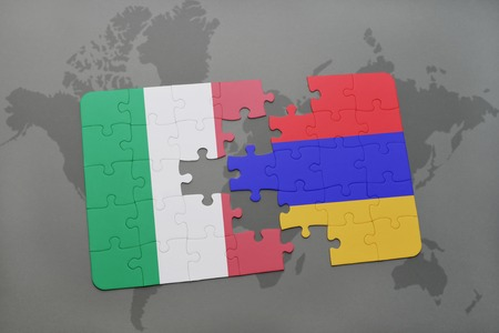 yerevan: puzzle with the national flag of italy and armenia on a world map background. 3D illustration Stock Photo