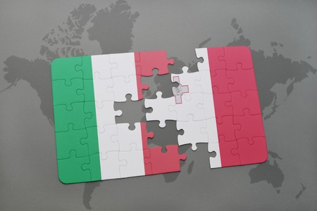 maltese map: puzzle with the national flag of italy and malta on a world map background. 3D illustration
