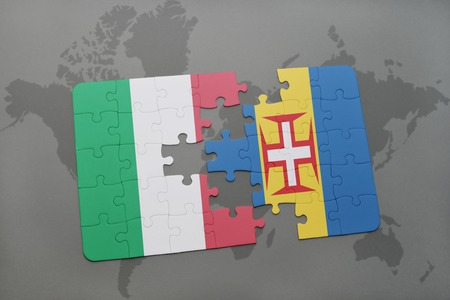 madeira: puzzle with the national flag of italy and madeira on a world map background. 3D illustration