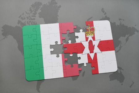 northern ireland: puzzle with the national flag of italy and northern ireland on a world map background. 3D illustration