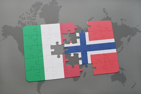 italian politics: puzzle with the national flag of italy and norway on a world map background. 3D illustration