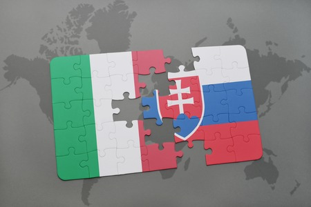 italy background: puzzle with the national flag of italy and slovakia on a world map background. 3D illustration