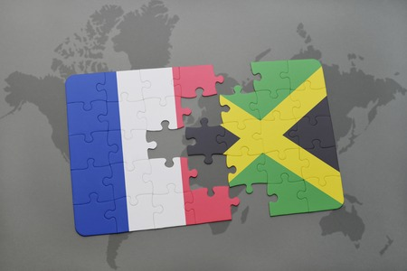 kingston: puzzle with the national flag of france and jamaica on a world map background. 3D illustration