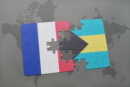 bahamas map: puzzle with the national flag of france and bahamas on a world map background. 3D illustration