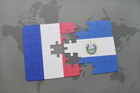 mapa de el salvador: puzzle with the national flag of france and el salvador on a world map background. 3D illustration