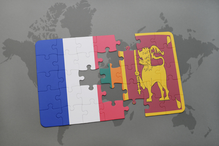 colombo: puzzle with the national flag of france and sri lanka on a world map background. 3D illustration