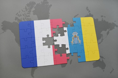 canary: puzzle with the national flag of france and canary islands on a world map background. 3D illustration