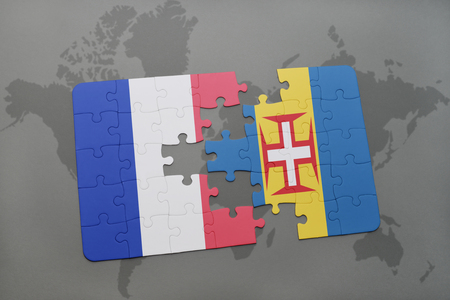 madeira: puzzle with the national flag of france and madeira on a world map background. 3D illustration