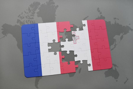 puzzle with the national flag of france and malta on a world map background. 3D illustration