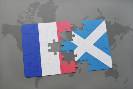 puzzle with the national flag of france and scotland on a world map background. 3D illustration