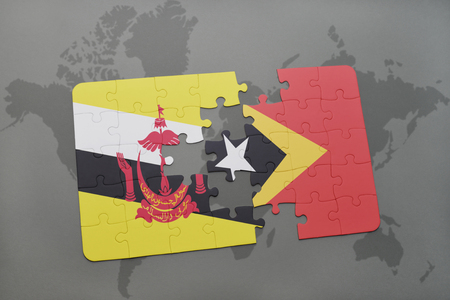map of brunei: puzzle with the national flag of brunei and east timor on a world map background. 3D illustration Stock Photo