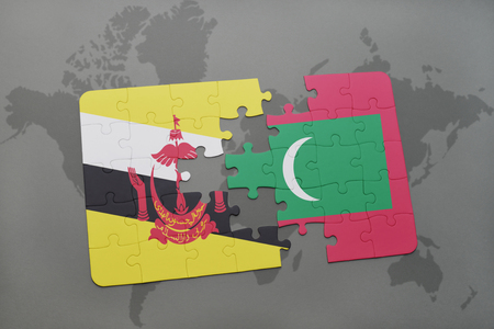 map of brunei: puzzle with the national flag of brunei and maldives on a world map background. 3D illustration